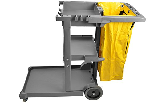 Janico 1050 Janitor Cart Commercial Housekeeping Utility Cart with 3 Shelfs, 25 Gallon Zippered Yellow Vinyl Bag, Grey, Pack of 1 (Bag Gallon Vinyl 25)