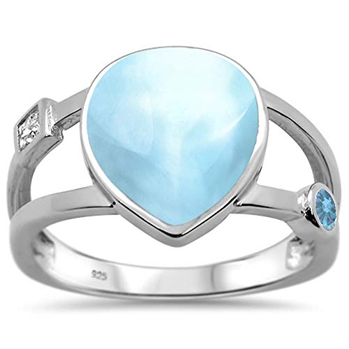 Oxford Diamond Co Sterling Silver Natural Larimar Pear Shape & Aquamarine Ring 5