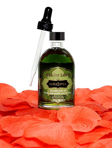 Kama Sutra Kissable Body Oil of Love Sensual Gift Set – Includes Sex Foreplay Edible Kiss Massage Oil, Oil Dropper, & 100 Bonus Satin Rose Petals – Original Flavor 3.4 Oz