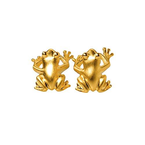 Drachenfels DesignD FR 21/AGG Boucles d'oreille femme Reine des grenouilles en argent plaqué or mat