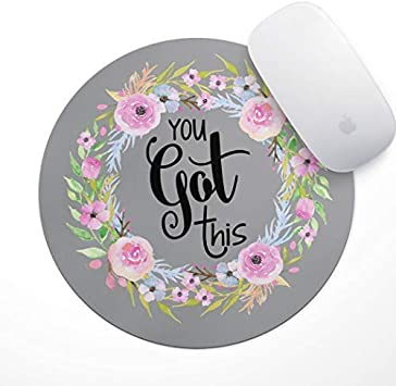 You Got This Floral Mouse Pad Neoprene Motivational Quote Mousepad Home Office Space Decor Home Office Computer Accessories Mousepads Watercolor Pink and Blue Florals The Navy Knot Quote Mousepad
