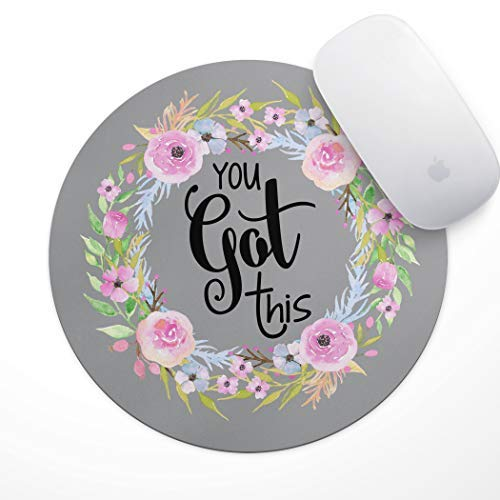 (Floral Mouse Pad Motiavation Quote You Got This Neoprene Inspirational Quote Mousepad Office Space Decor Home Office Computer Accessories Mousepads Watercolor Pink and Blue Florals)