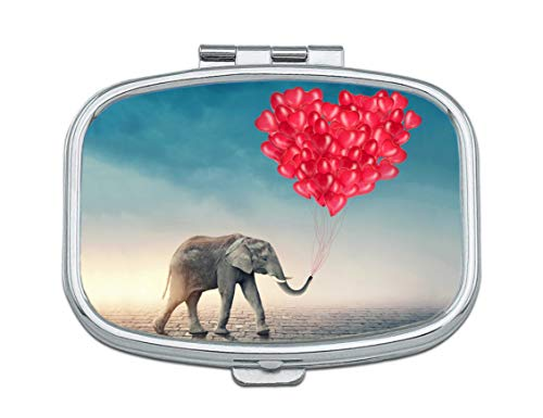 Pill Box - Customized Red Loving Elephant Pattern Design Pill Boxes, Portable Rectangular Metal Silver Pills Case, Compact 2 Space, Pill Cases for -