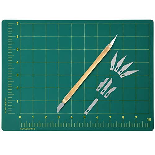 Precision Knife Plus Self Healing Cutting Mat (8¾ X 12 Inches) - Includes Bonus Blades (Plus Mat)