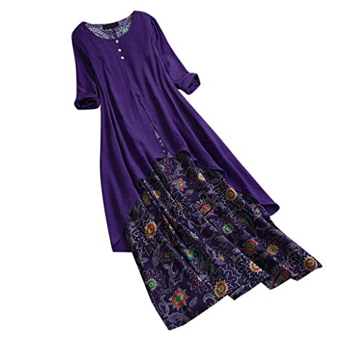 - Sunhusing Ladies Vintage Bohemian Small Floral Printed Buttons Decor O-Neck Long Sleeve Ankle Length Dress Blue