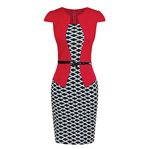 iLUGU Women Colorblock Plaid Wear to Work Business Party Bodycon One-Piece Sash Dress