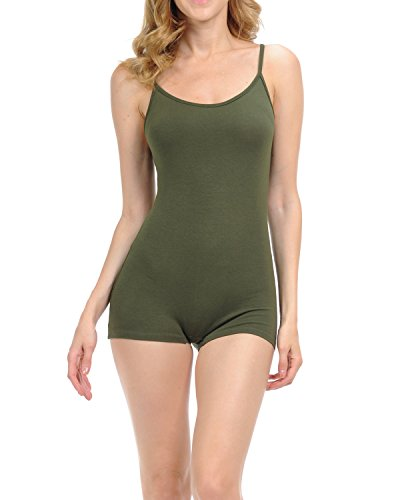 7Wins JJJ Women Catsuit Cotton Lycra Tank Spaghetti Strapped Short Yoga Bodysuit Jumpsuit S-Plus (Medium, Olive)]()