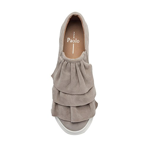Linea Paolo Lolo Womens Sneakers - Slip-On Platform Sneaker With Ruffles Grey Suede J4m06227h