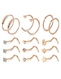 D.Bella 15PCS 20G Stainless Steel Nose Screw Nose Stud Nose Hoop Rings for Women Men Nose Lip Piercing Set