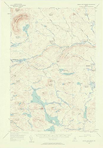 YellowMaps Grand Lake Seboeis ME topo map, 1:62500 Scale, 15 X 15 Minute, Historical, 1954, Updated 1958, 21.1 x 14.7 in - Paper -