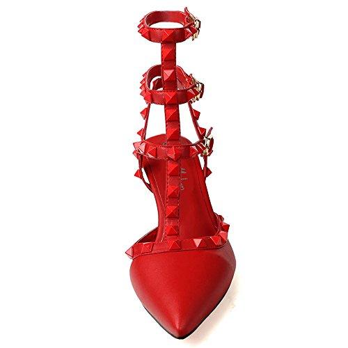 Onlymaker-Zapatos de tacon de moda con tira tachuelas para mujer Rojo