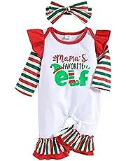Dziecięce dziewczęce chłopcy świąteczne stroje maluch dzieci list nadruk noworodka śpioszki kombinezon piżama ubrania, czerwony ZIELONY, 0-3 Miesiące