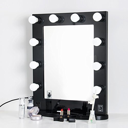 BLACK- Hollywood makeup Vanity tabletop Mirror with Switch, light adjustable, Makeup-Ready, Bulbs Around , Cosmetic mirror, factory sale (For Sale Makeup Vanities)