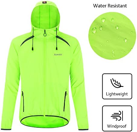 Santic Mens Windproof UV Protection Cycling Jacket Long Sleeve Wind Coat