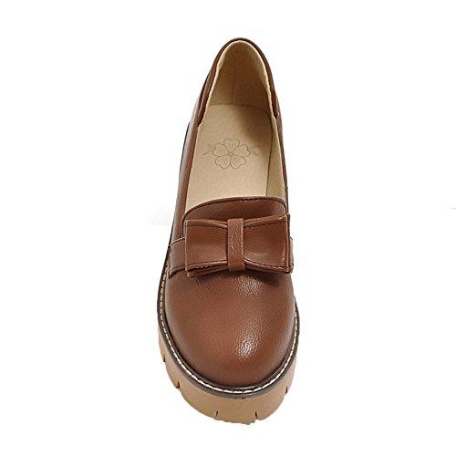 Cordones Gmxdb006688 Zapatos Agoolar Mujeres Tacón Pu De Sin Sólido Marrónoscuro HqwIUnZw