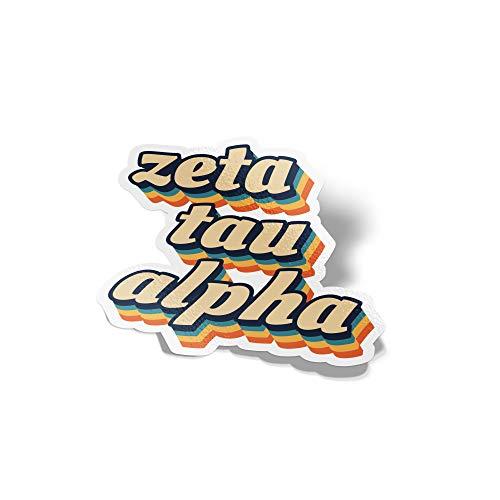 Desert Cactus Zeta Tau Alpha 70's Letter Sticker Decal Greek Tall for Window Laptop Computer Car Zeta