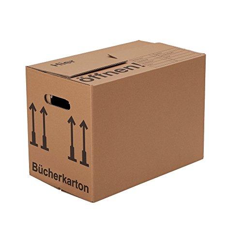 BB-Verpackungen Bücherkartons, 10 Stück, (Profi) STABIL + 2-WELLIG - Umzug Karton Kisten Verpackung Bücher Umzugskartons Schachtel