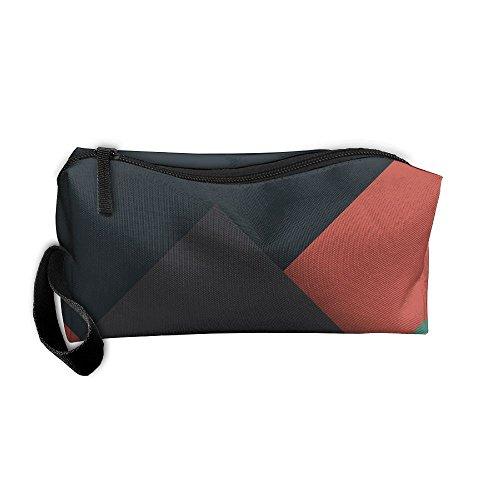 Kla Ju Portable Pen Bag Purse Pouch Simple Geometry Stationery Storage Organizer Cosmetic Holder