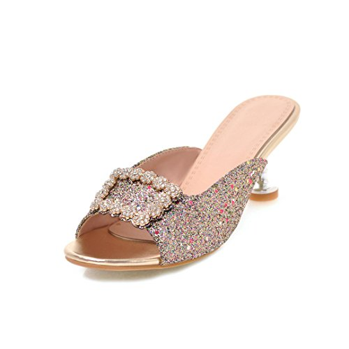 Zapatos de Mujer Primavera Verano Hebilla Cuadrada Sandalias Rhinestone de Impresión Sandalias de Las Señoras Zapatillas de Tacón Alto de Gran Tamaño (Color : UN, tamaño : 35)