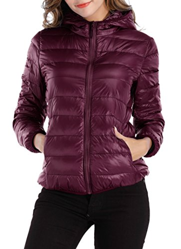 Sarin Mathews Womens Packable Ultra Lightweight Down Jacket Outwear Puffer Coats Wine Red XL (Best Puffer Jacket Brands)