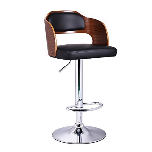 DecentHome Leather Cushion Wood Veneer Hydraulic Barstool (Center Cushioned Low Back)