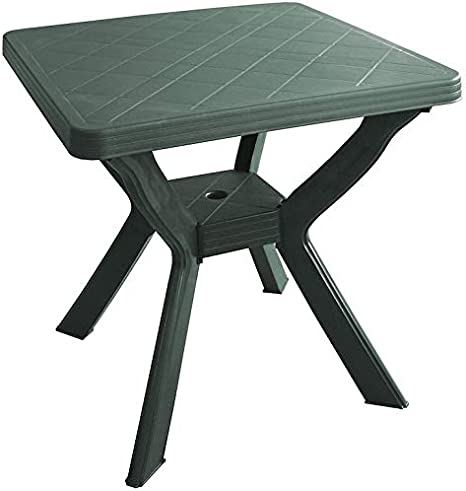 SF Savino Filippo - Mesa cuadrada de resina de plástico verde para exterior, jardín, bar, 4 plazas: Amazon.es: Hogar