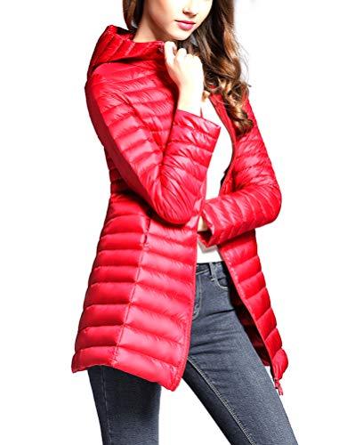 Donna Piumino Ultraleggeri Lunga Inverno Rosso Giacche Giacca Packable Suncaya Cappotto Trapuntato aHqdaP