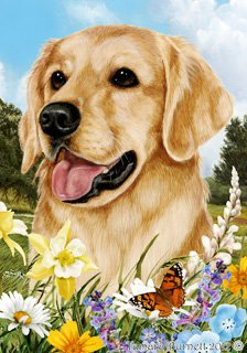 Golden Retriever Dog - Tamara Burnett Summer Flowers House Dog Breed Flag 28'' x 40''