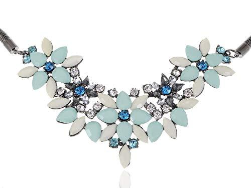 (Royal hotBlue White Bead Rhines Accented Pendant Fashion Necklace Ali)