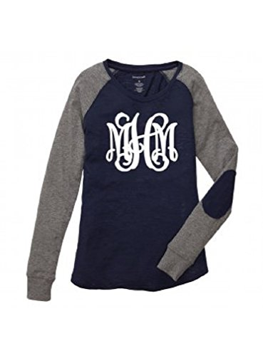 Boxercraft Women's Preppy Patch Long Sleeve Shirt Personalized MONOGRAMMED Navy Grey