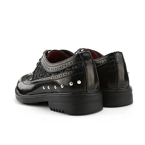 Nero con 40EU Xujw stringate Colore shoes in Scarpe oxford 2018 uomo tacco da Scarpe piatto uomo Scarpe Nero Colore pelle da PU basse dimensione stringate gq1gzxw