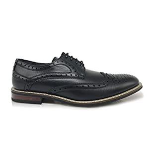 Conrad2 New Men's Classic Italy Modern Oxford Wingtip Lace Up Dress Shoes (8.5, Black)