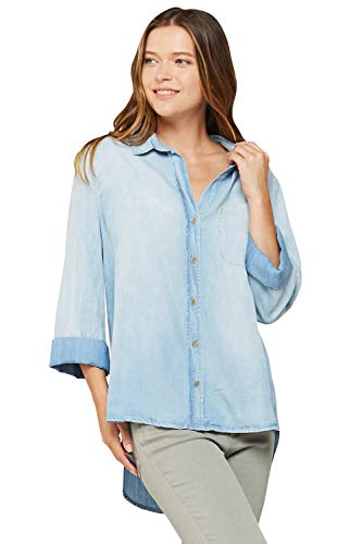 VELVET HEART 'Camisa' - Women's Chambray Button Down Shirt, Classic Denim Look with 3/4 Sleeves. Soft, Comfortable & - Classic Jeans Velvet