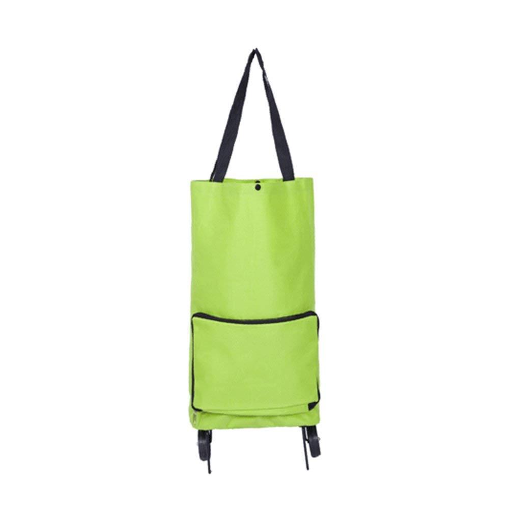 Waterproof Foldable Supermarker Shopping Trolley Bag Case Lightweight Handy Wheeled Shopping Groceries Bag Green Aszune