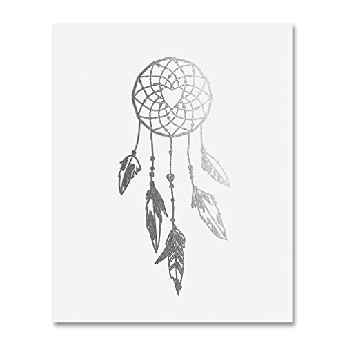 (Dreamcatcher Silver Foil Decor Tribal Boho Chic Dream Catcher Wall Art Print Metallic Poster 5 inches x 7 inches A18)