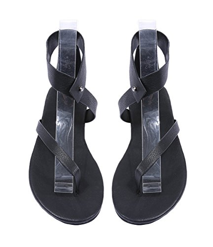 Buckle Black Ankle Shoes Summer Flop Thong Gladiator Sandals Womens Flat Casual Flip qgaxT