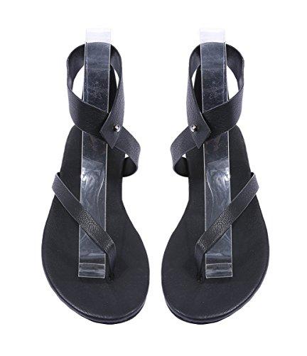 Dellytop Womens Sandals Flat Cute Gladiator Thong Flip Flop Casual Summer Shoes Black AJpot