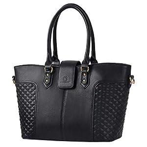 Black Purse, Fanspack Womens Black Handbags PU Leather Handbags Top Handle Tote Shoulder Bag Purses and Handbags