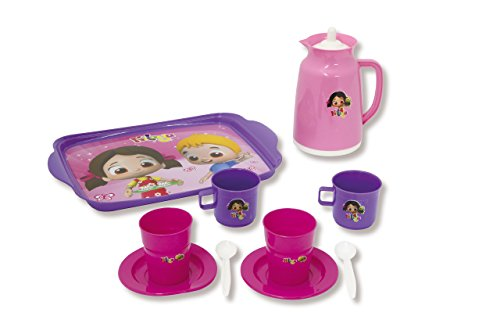 - JAMARA 460273 Play Set Niloyas Consists of Serving Tray, Teapot Tea Party - Role-Play/Stable Plastic Beakers Set of 2 Spoons
