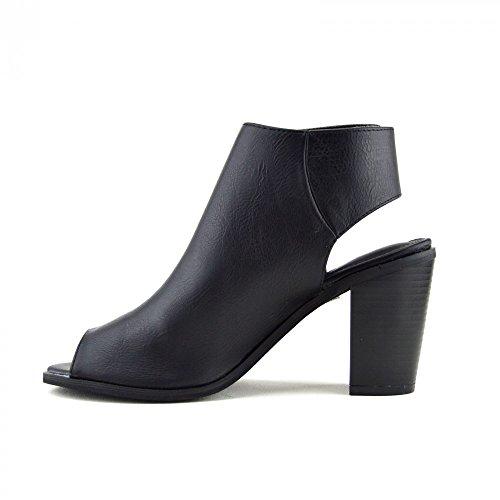 Kick Footwear - WOMENS LADIES BLOCK HEEL OPEN-TOE CUT OUT BACK KLETTVERSCHLUSS KNÖCHEL STIEFEL SCHWARZ - F10232