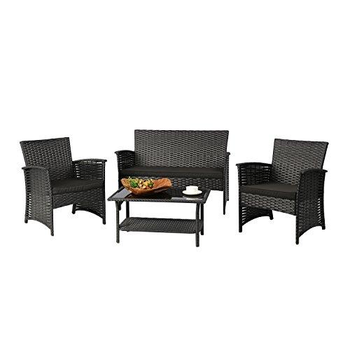 Baner Garden N82 4 Piece Outdoor Furniture Complete Patio Cushion Wicker Rattan Garden Set, Full, Black