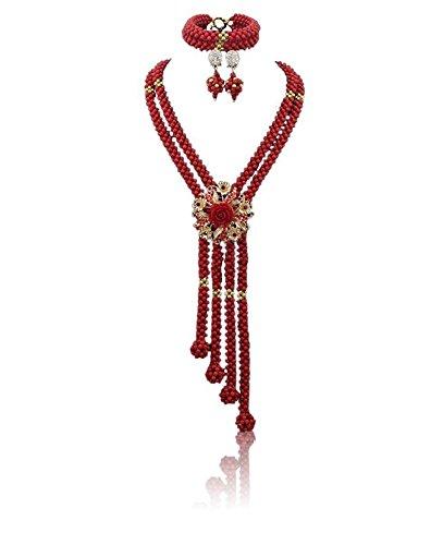 allongée Rouge africain Corail Bijoux Perles Boule avec collier de fleurs Brooche Boucles d'oreilles et bracelet