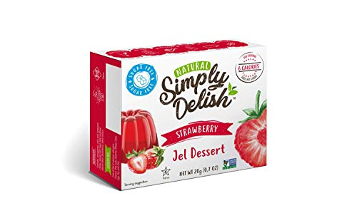 Simply Delish Natural Strawberry Jel Dessert - Sugar Free, Non GMO, Gluten Free, Fat Free, Lactose Free, 0.7 OZ (Pack of 6)
