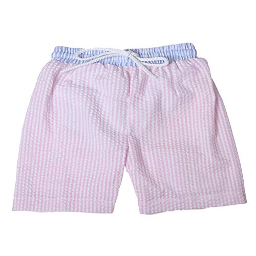 CFP Baby Boys Seersucker Swim Trunks with Blue Trim - Seersucker Swimsuit for Kids, Blue Seersucker Dawstring Waist Band, Size 12M - 6T (Pink, ()