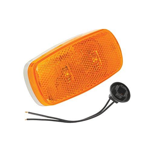 Bargman 42-59-402 Side Marker Light (Dual LED Side Marker with White Base - Amber)