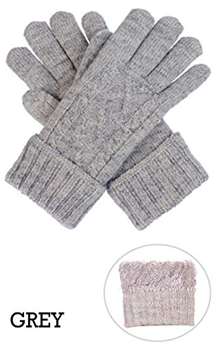 CCFW Women Winter Cable Ultra Warm Soft Plush Fur Fleece Lined Knit Gloves (605 ()