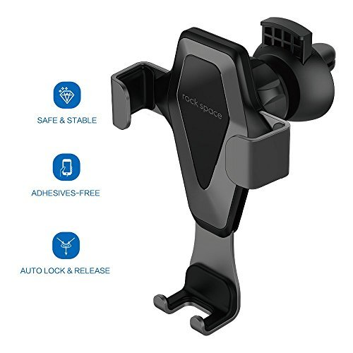 Car Cell Phone Holder - Hands-free Cell Phone Holder for Car, Air Vent Car Phone Mount with Auto Lock and Auto Release for iPhone X/8/7/7Plus/6s/6Plus, Samsung Galaxy/S8/S7/S6/Note 5, Nexus 6, etc. by ROCK SPACE