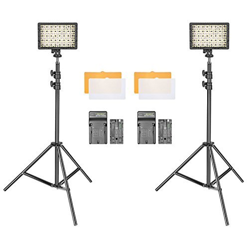 Neewer 2-Pack Dimmable 216 LED Video Light with (2)2200mAh Li-ion Battery, (2)Wall Charger, (2)75-inch Light Stand and Color Filters for DSLR Camera Camcorder for Studio Portrait Video Shooting by Neewer