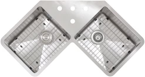 """Ticor 36\"""" TR-1400 Undermount Double Bowl Stainless Steel 16-Gauge Butterfly Handmade Corner Cabinet Kitchen Sink w/ Tight Radius Corners and Grids"""