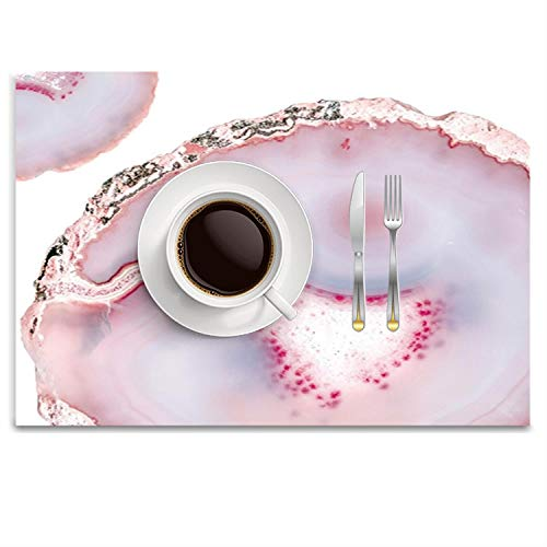 UTRgdfsvxc Place Mats Washable Fabric Placemats for Dining Room Kitchen Table Decor - Pink Rose Gold Blush Agate Marble Gemstone (White Gold Rose Agate)